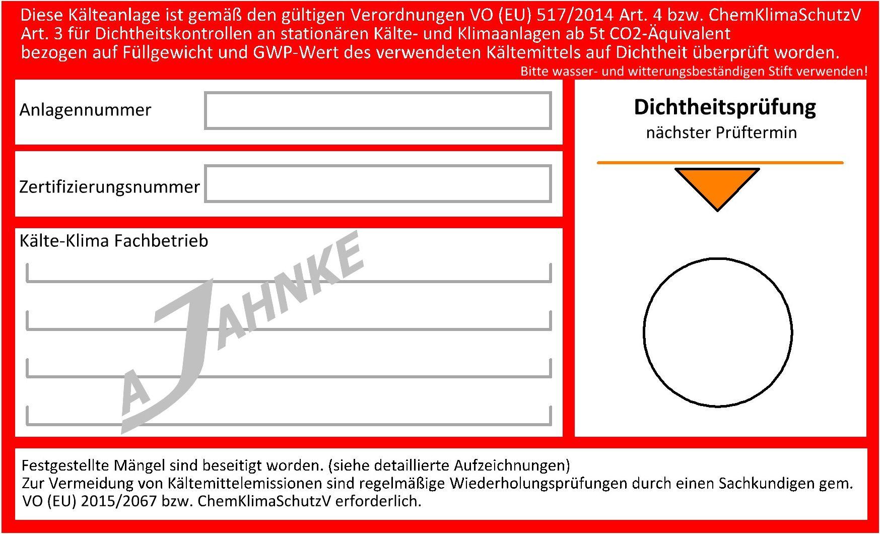 dichtheitsprfungen gem vo eu 5172014 - Ubereinstimmungserklarung Muster