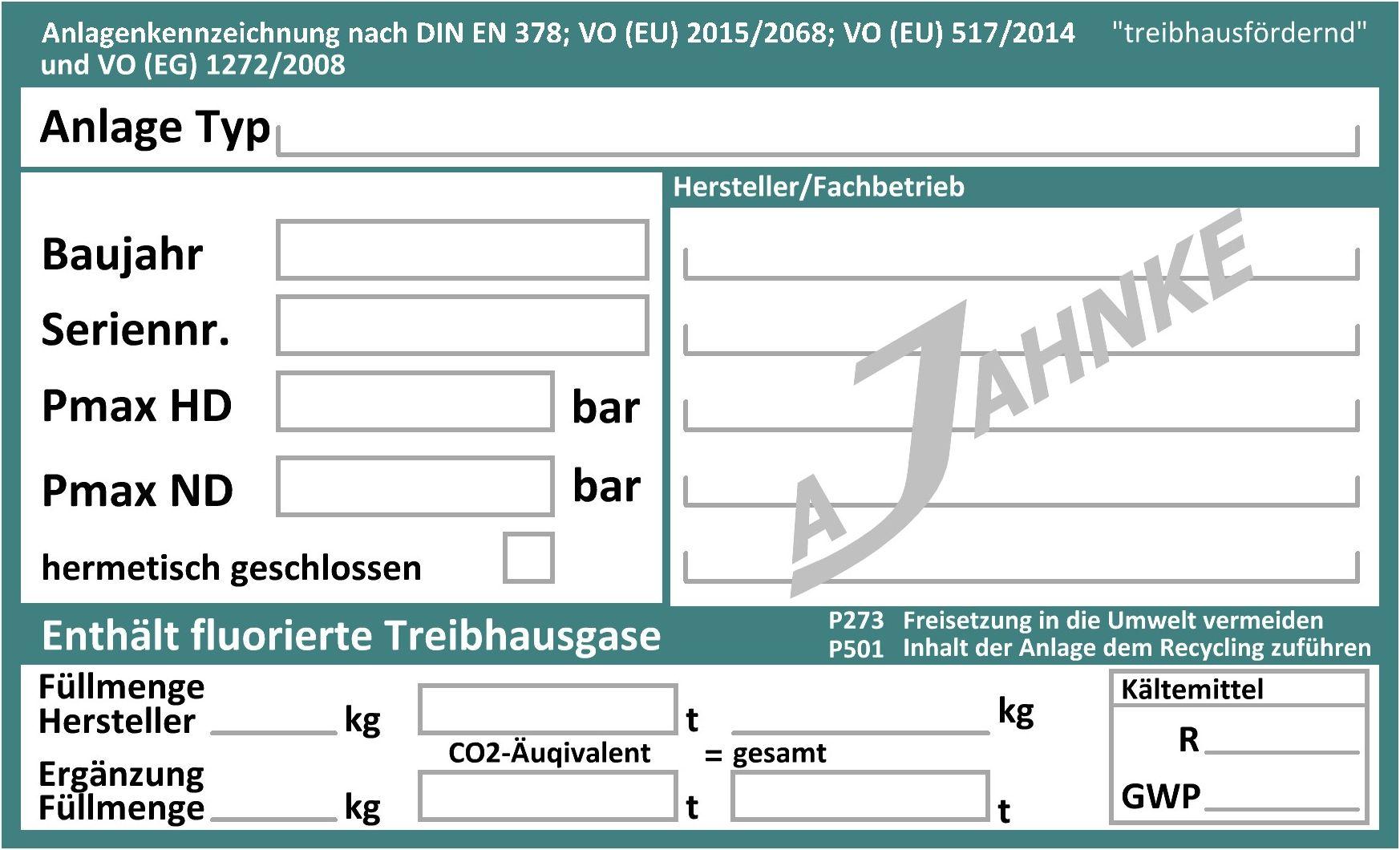 kennzeichnung von klteanlagen nach vo eu 20152068 und en 378 - Ubereinstimmungserklarung Muster